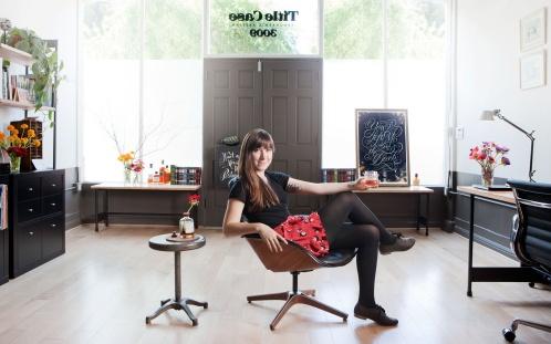 Jessica Hische in her studio
