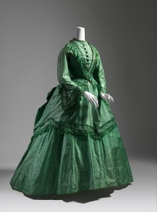 Dress, ca. 1870 British, silk; Length at CB (a): 21 1/2 in. (54.6 cm) Length at CB (b): 46 in. (116.8 cm) Length at CB (c): 31 1/2 in. (80 cm) The Metropolitan Museum of Art, New York, Catharine Breyer Van Bomel Foundation Fund, 1980 (1980.409.1a–c) http://www.metmuseum.org/Collections/search-the-collections/107620